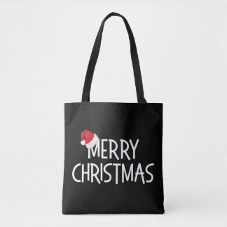 Merry Christmas Whimsical Santa Hat on Black Tote Bag
