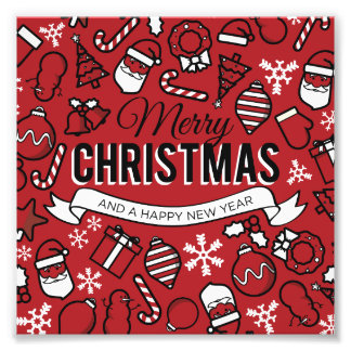 Merry Christmas White and Red Characters Pattern Art Photo