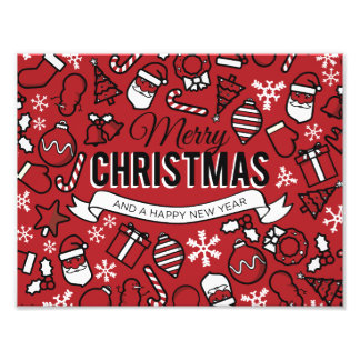 Merry Christmas White and Red Characters Pattern Photo
