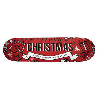 Merry Christmas White and Red Characters Pattern Skate Board Deck