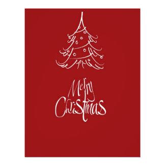 Merry Christmas White Christmas Tree Outline Flyers