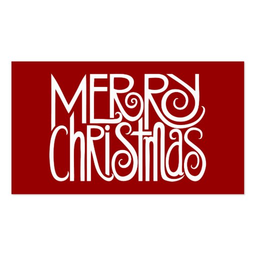 Merry Christmas White Gift Tag Business Card