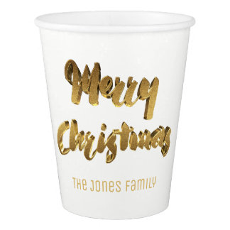Merry Christmas White Gold Handwriting Typography Paper Cup