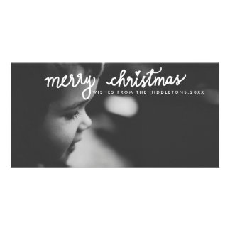 Merry Christmas White Handwritten Script Holiday Photo Greeting Card