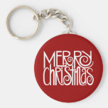 Merry Christmas White Keychain
