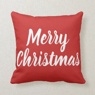 MERRY CHRISTMAS - white on red Cushion