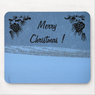 Merry Christmas - White Out Snow Storm Mouse Mat