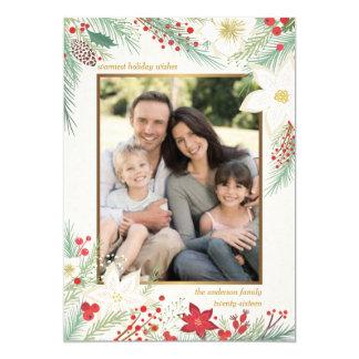 Merry Christmas White Poinsettia Frame Photo Card