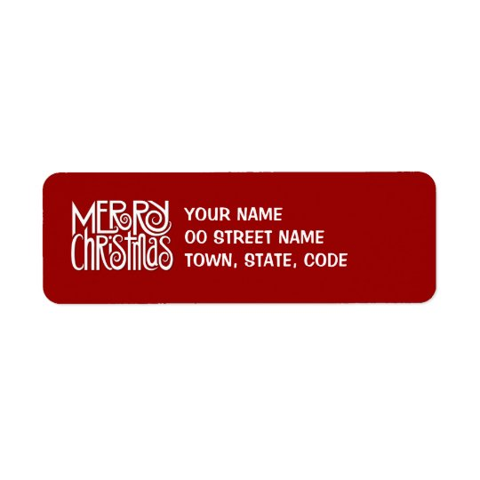 Merry Christmas white Return Address Label