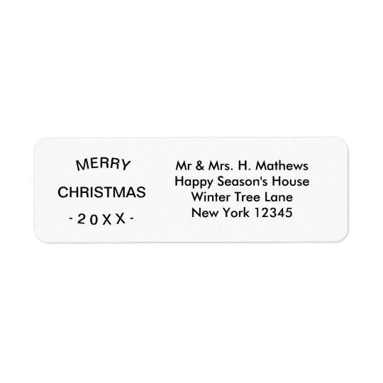 Merry Christmas | White Return Address Label