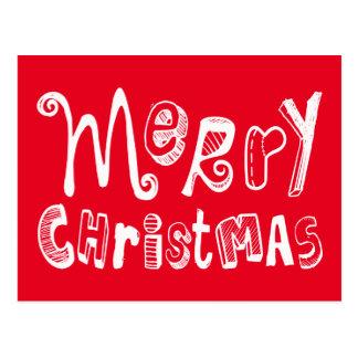 Merry Christmas - white Text Design Postcard