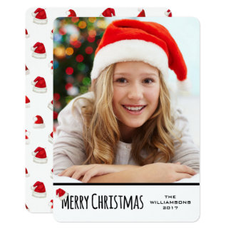 Merry Christmas White Vertical Whimsical Santa Hat Card