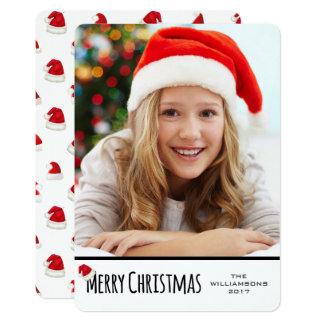 Merry Christmas White Vertical Whimsical Santa Hat Card