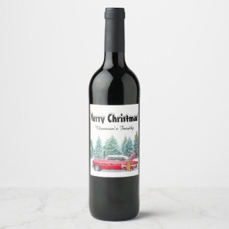 Merry Christmas wine bottle label. Customizable. Wine Label