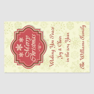 Merry Christmas Wine Label Gift Tag Rectangular Sticker