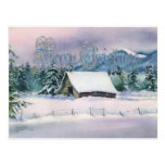 MERRY CHRISTMAS WINTER BARN by SHARON SHARPE Postcard