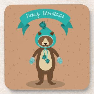 Merry Christmas Winter Bear Coaster