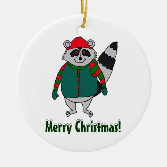 Merry Christmas Winter Racoon Ornament