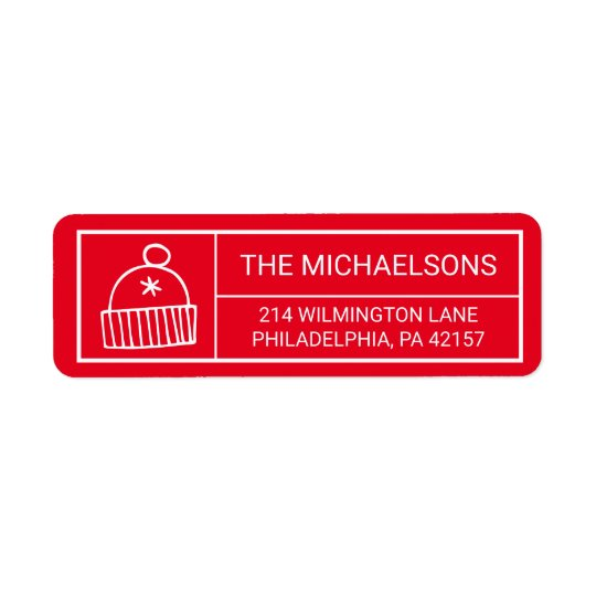 Merry Christmas | Winter Ski Cap Return Address Label