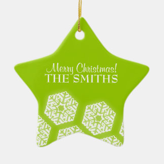 Merry Christmas Winter Snowflakes Lime Green Christmas Ornament