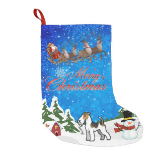 Merry Christmas Wire Fox Terrier Small Christmas Stocking