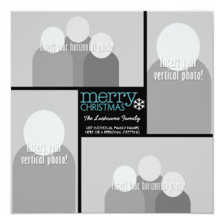 Merry Christmas with 4 Photo Collage 13 Cm X 13 Cm Square Invitation Card