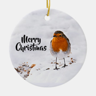 Merry Christmas with a cute red Robin in snow Christmas Ornament