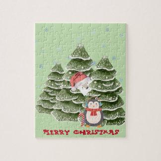 Merry Christmas With A Penguin And Polar Bear Jigsaw Puzzle