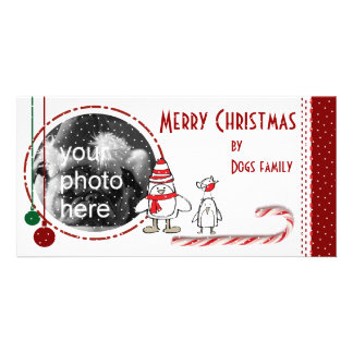 Merry Christmas with candycane penguins and snow Personalised Photo Card
