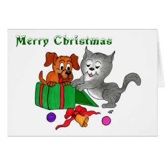 Merry Christmas with Cat and Puppy Card