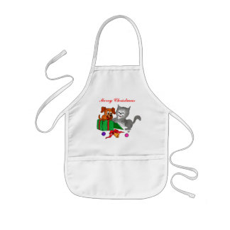 Merry Christmas with Cat and Puppy Kids Apron