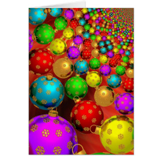 Merry Christmas with colored baubles Greeting Card