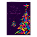 Merry Christmas with colourful abstract tree Greeting Card