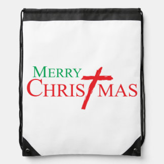 Merry Christmas with Cross of Jesus Christ Buttons Backpack