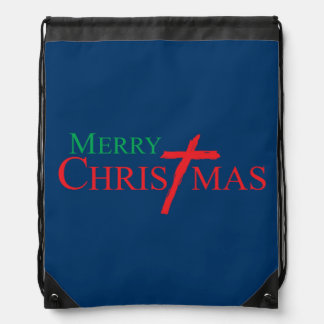 Merry Christmas with Cross of Jesus Christ Buttons Drawstring Backpacks