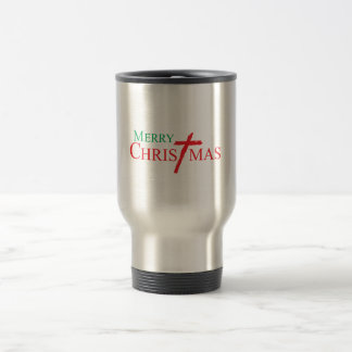 Merry Christmas with Cross of Jesus Christ Buttons Stainless Steel Travel Mug