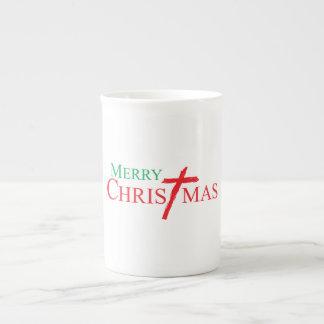 Merry Christmas with Cross of Jesus Christ Cards Bone China Mugs