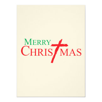 Merry Christmas with Cross of Jesus Christ Stamps 17 Cm X 22 Cm Invitation Card
