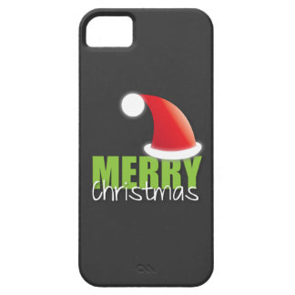MERRY Christmas with cute santa hat iPhone 5 Covers