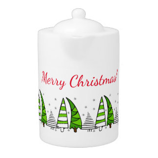 """""""Merry Christmas"""" with doodle trees decoration"""