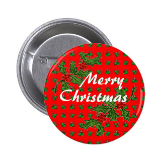 Merry Christmas with Holly 2 Inch Round Button
