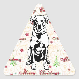 Merry Christmas with labrador retriever Triangle Sticker