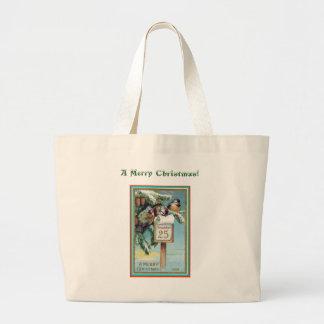 Merry Christmas with Little Birds Jumbo Tote Bag
