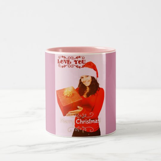 Merry Christmas With Love on Pink Mug