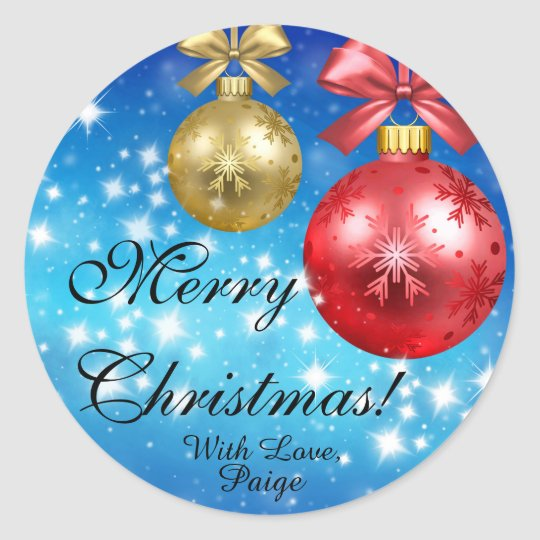 Merry Christmas With Love Personalised Classic Round Sticker