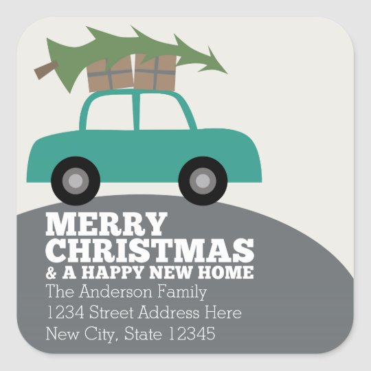 Merry Christmas with New Home Address Moving Square