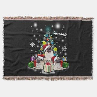 Merry Christmas with Pug Dog Animal Throw Blanket