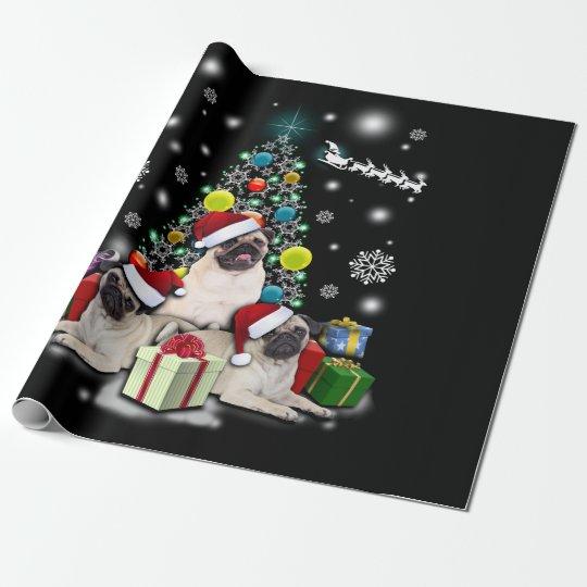 Merry Christmas with Pug Dog Animal Wrapping Paper