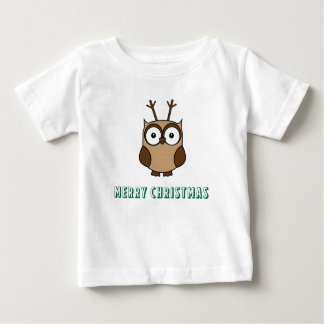 Merry Christmas with Reindeer Owl Baby T-Shirt
