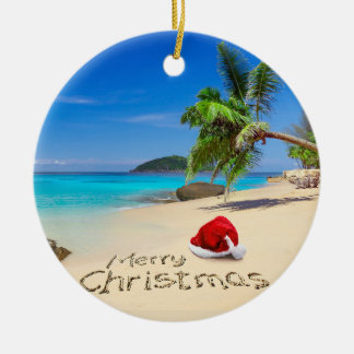 Merry Christmas With Santa Hat In The Tropics Christmas Ornament